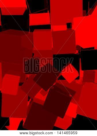 Shiny red cube 3d abstract background. 3D illustration.
