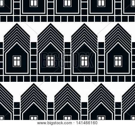 Black and white abstract vector houses and cottages continuous background