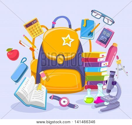 Vector colorful illustration of unisex yellow backpack pile of books phone microscope and other many school supplies on blue background. Bright design for web site advertising banner poster brochure board