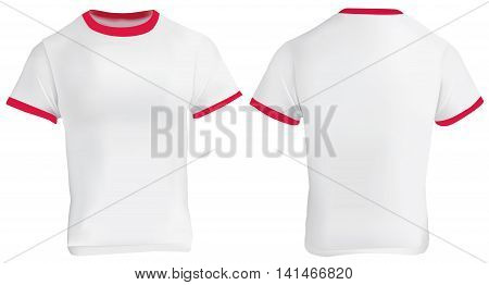 Vector illustration of blank men red ringer t-shirt template white shirt with red collar and sleeve bands front and back design isolated on white