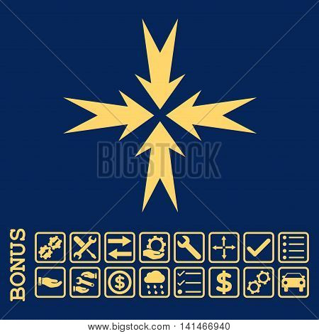 Compression Arrows icon with bonus pictograms. Vector style is flat iconic symbol, yellow color, blue background. Bonus style is square rounded frames with symbols inside.