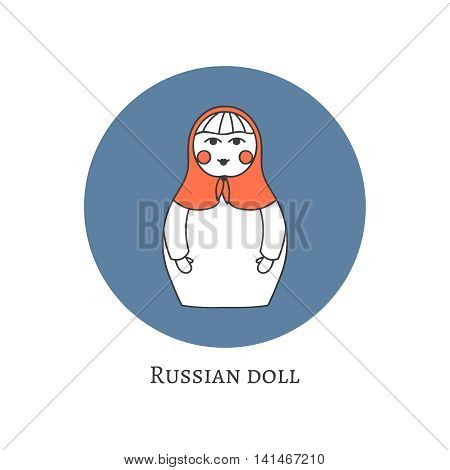 Russian traditional wooden toy icon. Babushka matryoshka simple USSR element symbol. Vector illustration. National culture concept. Retro doll design background.