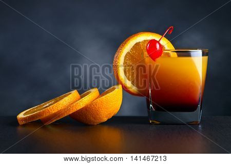 Cocktail Tequila Sunrise With Orange And Cherry
