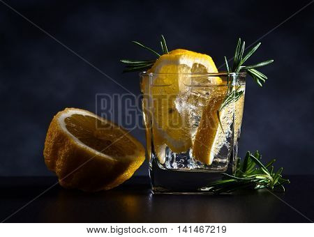 Gin With Tonic, Lemon And Rosemary