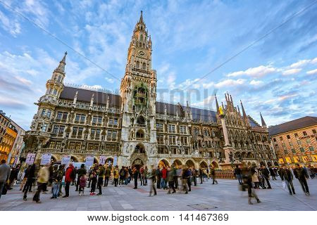The Marienplatz In The City Centre Of Munich, Germany.