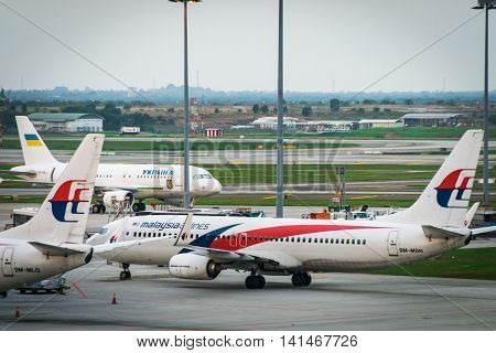 Kuala Lumpur, Malaysia - circa August 2016: Malaysia Airlines aircraft at Kuala Lumpur International Airport. Malaysia Airlines is the flag carrier airline of Malaysia and Kuala Lumpur is a major airport in South East Asia.