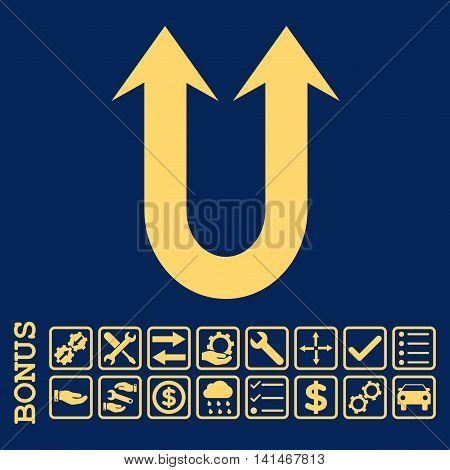 Double Forward Arrow icon with bonus pictograms. Vector style is flat iconic symbol, yellow color, blue background. Bonus style is square rounded frames with symbols inside.