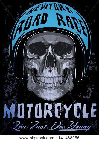 Tee skull motorcycle graphic design fashion style