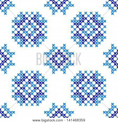 Seamless embroidered texture of abstract flat patterns snowflakes cross-stitch ornament for cloth