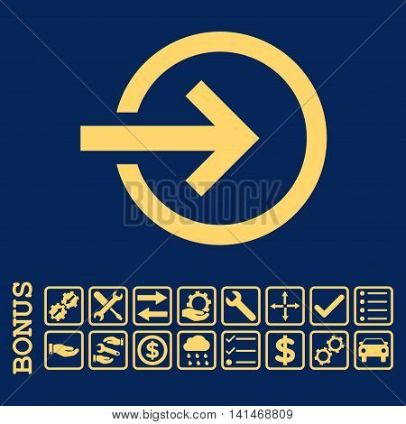 Import icon with bonus pictograms. Vector style is flat iconic symbol, yellow color, blue background. Bonus style is square rounded frames with symbols inside.