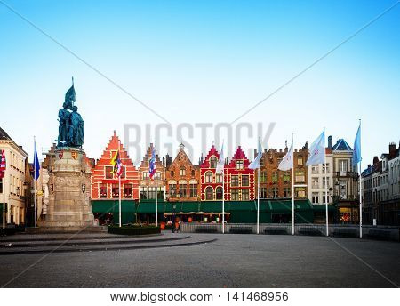 Medieval buildings on the Market Square, Brugge, Belgium, retro toned