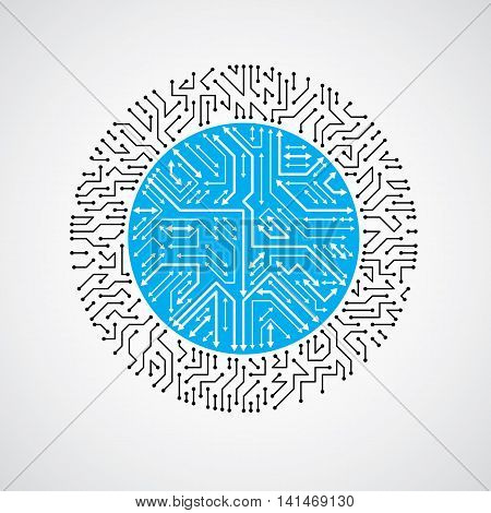 Vector Abstract Technology Illustration With Round Blue Circuit Board. High Tech Circular Digital Sc