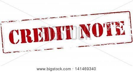 Rubber stamp with text credit note inside vector illustration