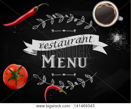 Menu on Chalkboard background with hand drawn ornament for restaurant and objects on it like salt cup of coffee tomato and red pepper