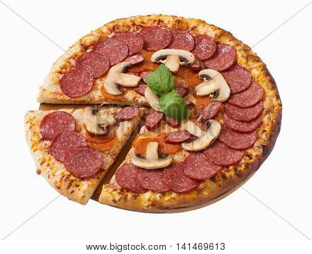 Tasty pizza with pepperoni and mushrooms isolated on white