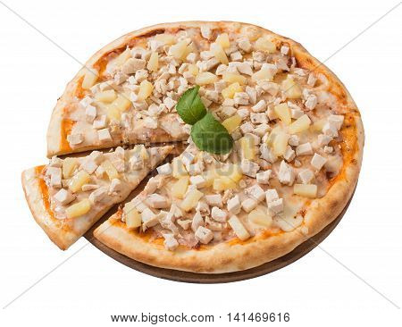 Tasty pizza with chicken and pineapple isolated on white