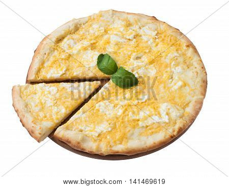 Tasty cheese pizza with slice isolated on white