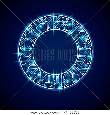 Vector Abstract Computer Glare Circuit Board, Blue Round Technology Element With Connections And Neo