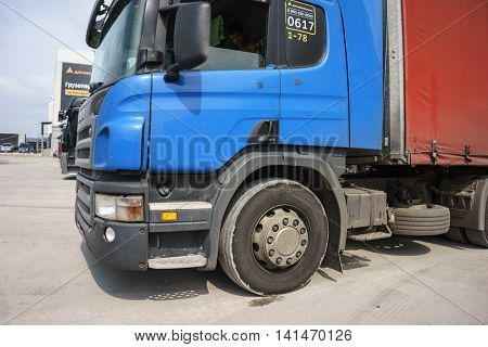 RUSSIA, YEKATERINBURG - JULY 24, 2016: Truck loading at the cargo terminal of Ekaterinburg