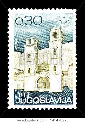 YUGOSLAVIA - CIRCA 1967 : Cancelled postage stamp printed by Yugoslavia, that shows Church in Kotor.