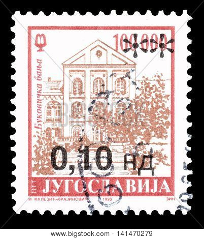 YUGOSLAVIA - CIRCA 1993 : Cancelled postage stamp printed by Yugoslavia, that shows Bukovicka banja.