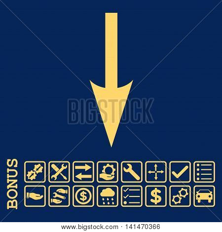Sharp Arrow Down icon with bonus pictograms. Vector style is flat iconic symbol, yellow color, blue background. Bonus style is square rounded frames with symbols inside.