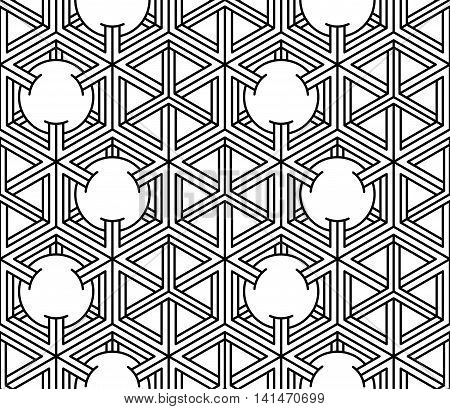 Monochrome abstract interweave geometric seamless pattern with hexagons and circles