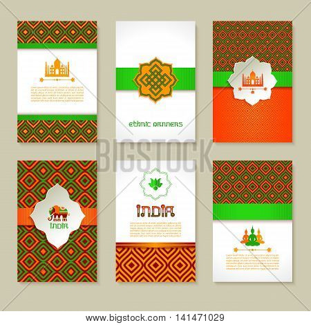 Set Of Ethnic Indian Banners In National Colors.