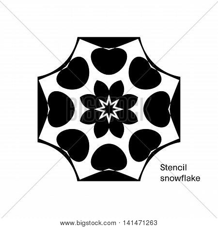 Black stencil of snowflake, abstract geometric symmetrical pattern. Vector illustration