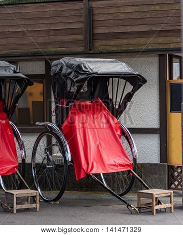 Close up of classic japan cart for travel around old city distric waitting for customer in japan