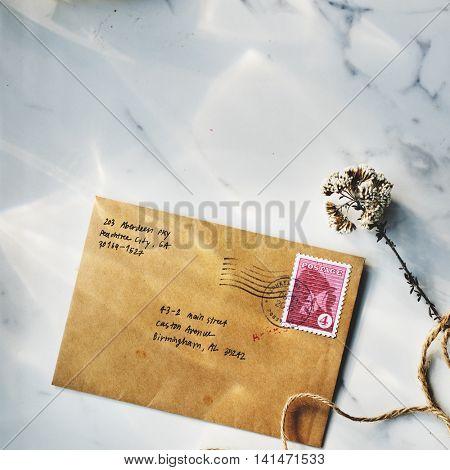Letter Envelope Postage Stamp Flower Concept