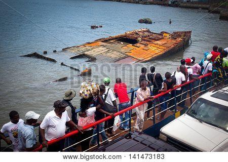 Freetown Sierra Leone - June 8 2013: Ferry to Freetown ship breakup