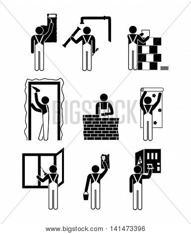 Set of black and white icons of repair work in the house