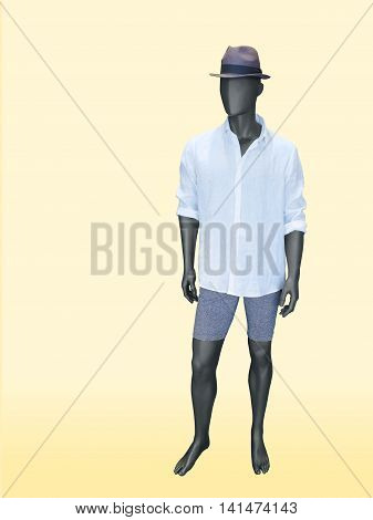 Male mannequin dressed in white shirt shorts and hat. Isolated on yellow background.