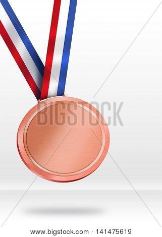 Bronze Medal Illustration. Shiny Medal for Awarding ceremony concept.