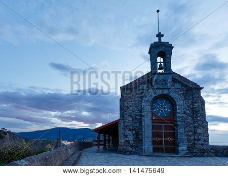 Doniene Gaztelugatxeko hermitage on top of Gaztelugatxe island. Biscay Basque Country (Spain). Dates from the 10th century.
