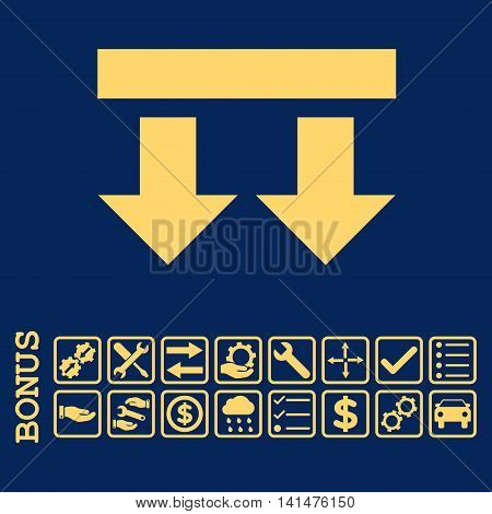 Bring Down icon with bonus pictograms. Glyph style is flat iconic symbol, yellow color, blue background. Bonus style is square rounded frames with symbols inside.