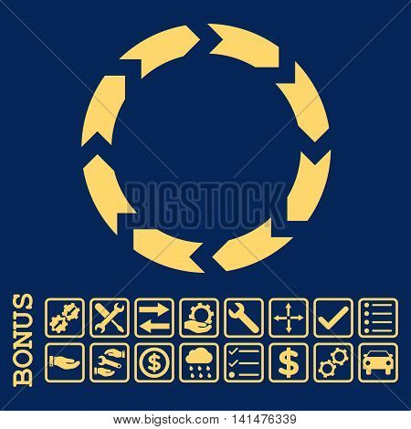 Circulation icon with bonus pictograms. Glyph style is flat iconic symbol, yellow color, blue background. Bonus style is square rounded frames with symbols inside.