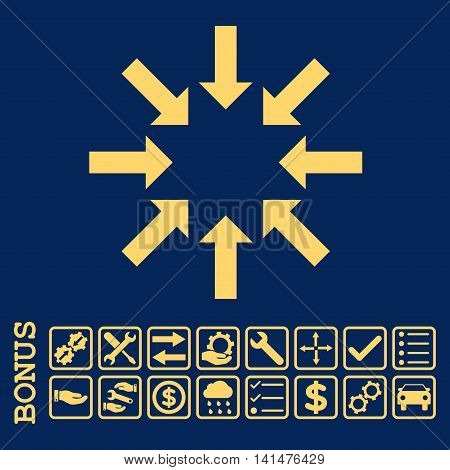 Collapse Arrows icon with bonus pictograms. Glyph style is flat iconic symbol, yellow color, blue background. Bonus style is square rounded frames with symbols inside.