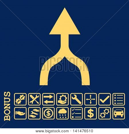 Combine Arrow Up icon with bonus pictograms. Glyph style is flat iconic symbol, yellow color, blue background. Bonus style is square rounded frames with symbols inside.