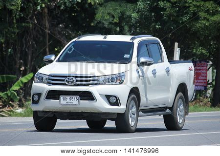 CHIANGMAI THAILAND -JULY 27 2016: Private Pick up Car Toyota New Hilux Revo Double Cab. On road no.1001 8 km from Chiangmai Business Area.