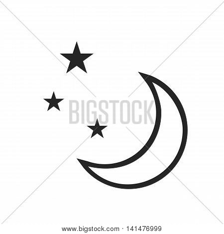 Clear night. Weather forecast icon. Editable elements isolated on white. Creative item. Flat design graphic. Part of series of various symbols and signs for climate changes diagnostic. Vector