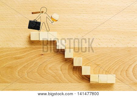 drawn person with cigar brandy and briefcase on the highest point of staircase success concept