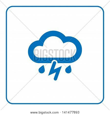 1 of 25 signs forecast weather. Cloud lightning and rain icon. Web cartoon sign isolated on white background. Symbol cloudy storm. Meteorology information. Blue flat silhouette. Vector illustration