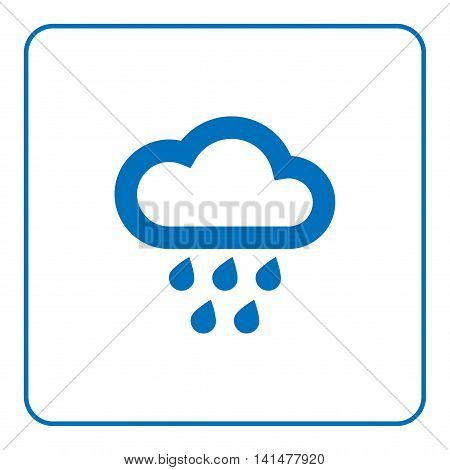 1 of 25 signs forecast weather. Cloud and rain icon. Web cartoon sign isolated on white background. Symbol nature rainy. Meteorology information. Blue silhouette. Flat design. Vector illustration