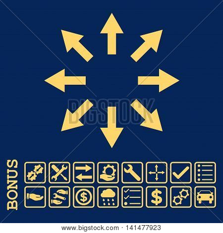 Radial Arrows icon with bonus pictograms. Glyph style is flat iconic symbol, yellow color, blue background. Bonus style is square rounded frames with symbols inside.