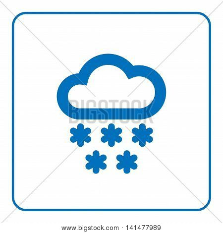 1 of 25 signs forecast weather. Cloud and snow icon. Web cartoon sign isolated on white background. Symbol nature winter. Meteorology information. Blue silhouette snowflake. Flat Vector illustration