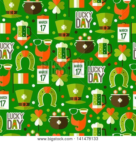 St patricks day seamless pattern in traditional Irish national colors