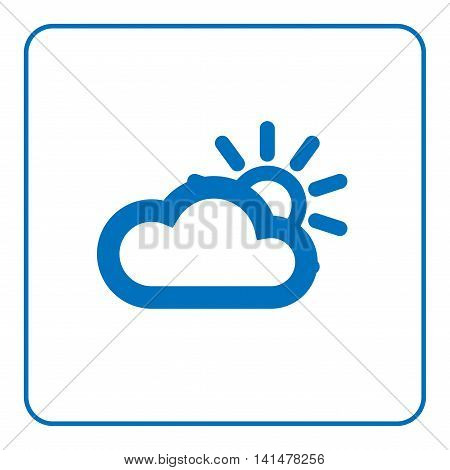 1 of 25 signs forecast weather. Cloud and sun icon. Web cartoon sign isolated on white background. Symbol nature sky space. Meteorology information. Blue silhouette. Flat design. Vector illustration
