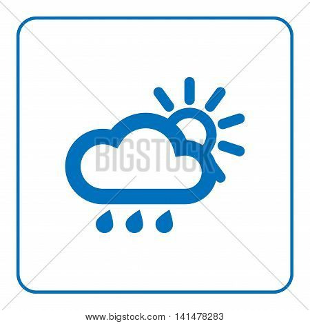 1 of 25 signs forecast weather. Cloud rain and sun icon. Web cartoon sign isolated on white background. Symbol nature sky. Meteorology information. Blue silhouette. Flat design. Vector illustration